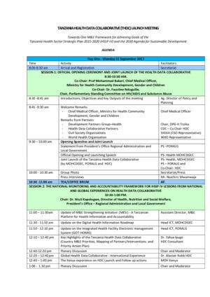 Tanzania Health Data Collaborative Launch Final Agenda