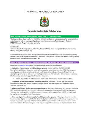 Tanzania HDC Deep Dive January 2018