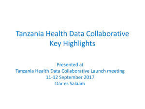 Tanzania HDC Priorities Presentation 11 September 2017