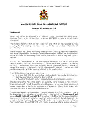 Malawi HDC meeting 2018 agenda