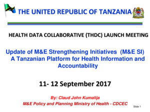Tanzania M&ESI Presentation 11 September 2017