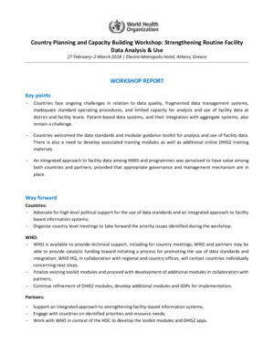 Strengthening Routine Facility Data Analysis and Use: Country Capacity Building workshop report